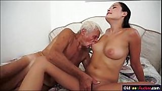 Dolly diore sucks off a grandpas ramrod and sits...