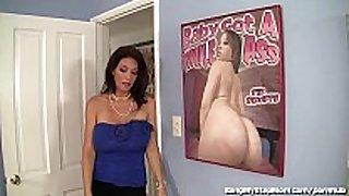 Busty stepmom rides her stepson's large cock!