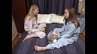 Cute legal age teenager lesbian sweethearts in daybed two