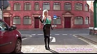 Hot latex clad blonde in high heels and william...