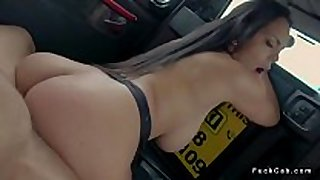 Curved dark brown bonks in fake taxi