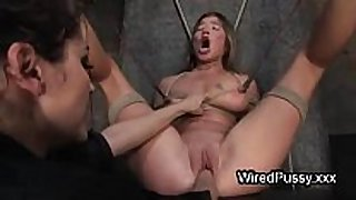 Bound wired sweetheart love tunnel fist fucked