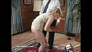 Blonde grabs her ankles and gets a paddling