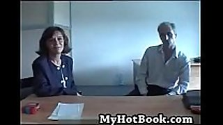 French older married couple audition on camera