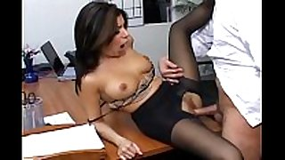 Busty secretary in sheer hose has office sex