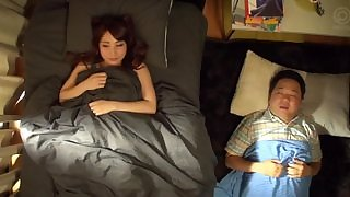 Asian teen wakes her hubbie up and does quickie