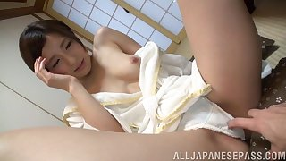 Smiley Asian girl lets boyfriend play with her hairy pussy