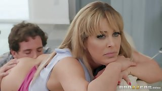 Spunky blonde MILF gets caught fucking her best friend's son
