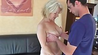 Milf receives fuck and cum in her booty from man